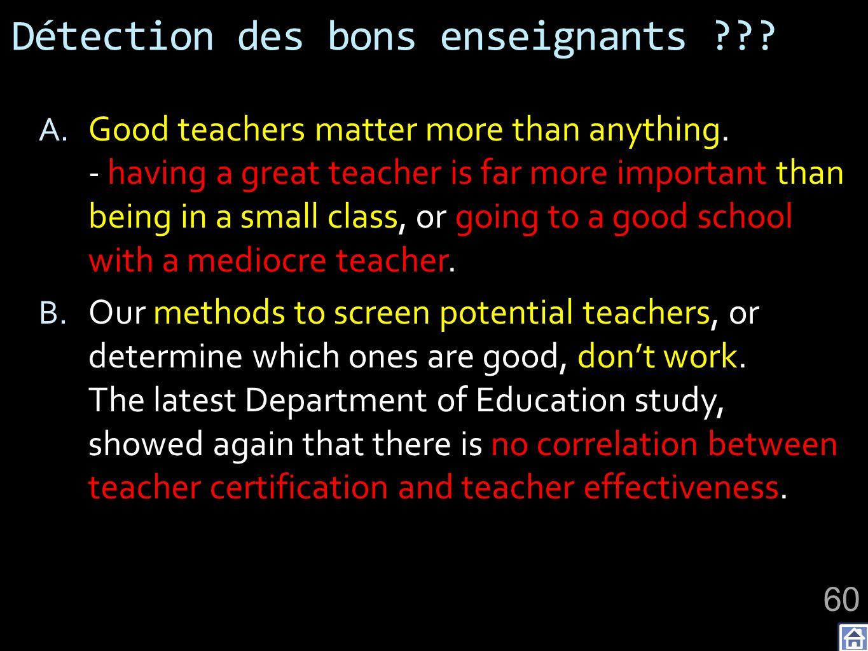 Détection des bons enseignants