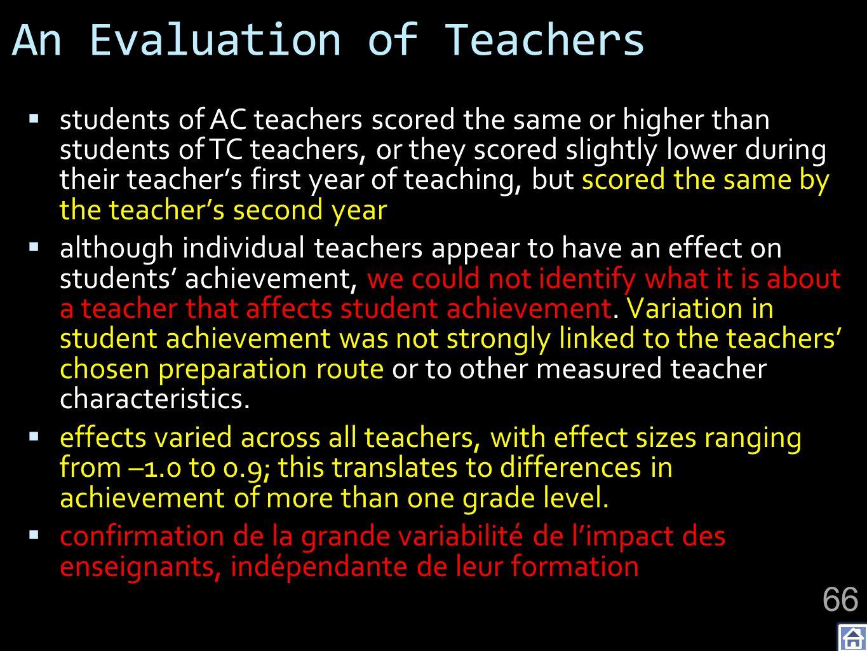 An Evaluation of Teachers