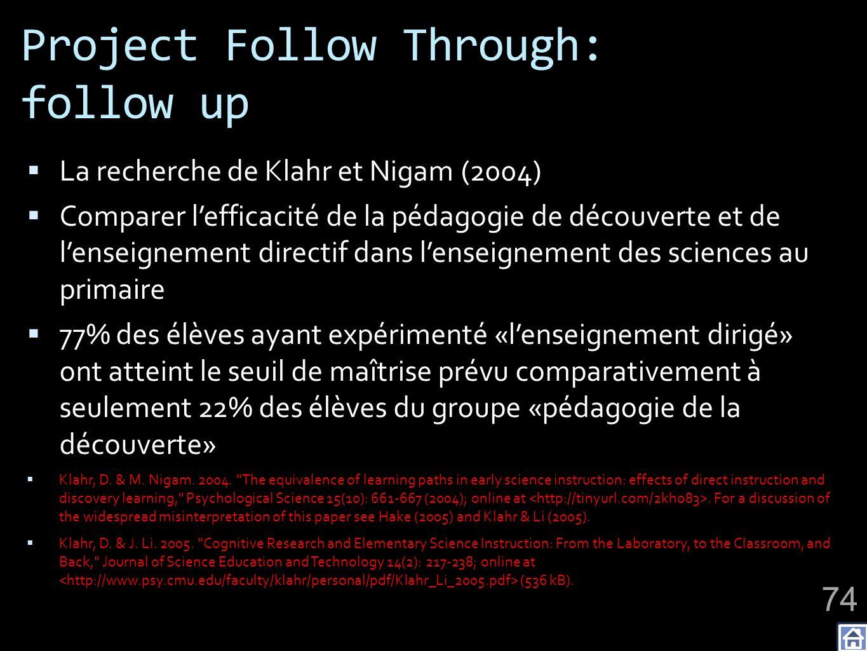 Project Follow Through: follow up
