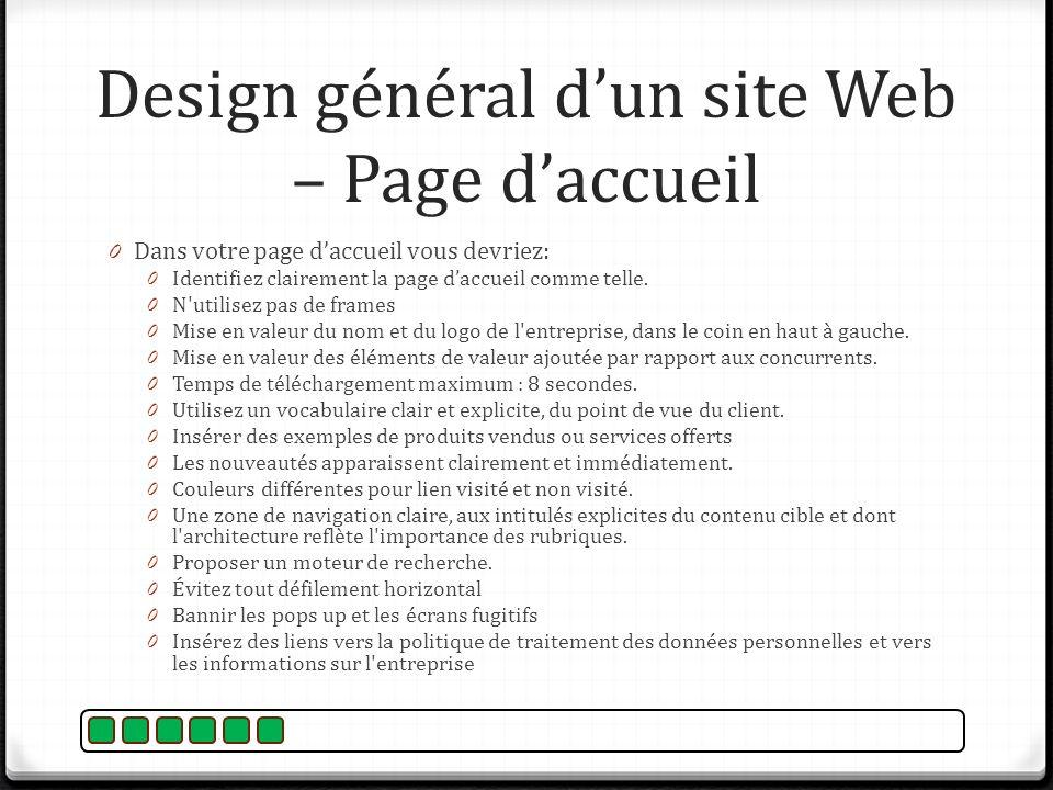 Design général d'un site Web – Page d'accueil