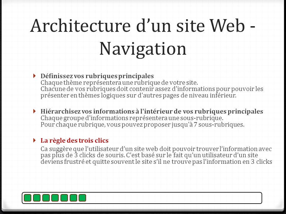 Architecture d'un site Web - Navigation