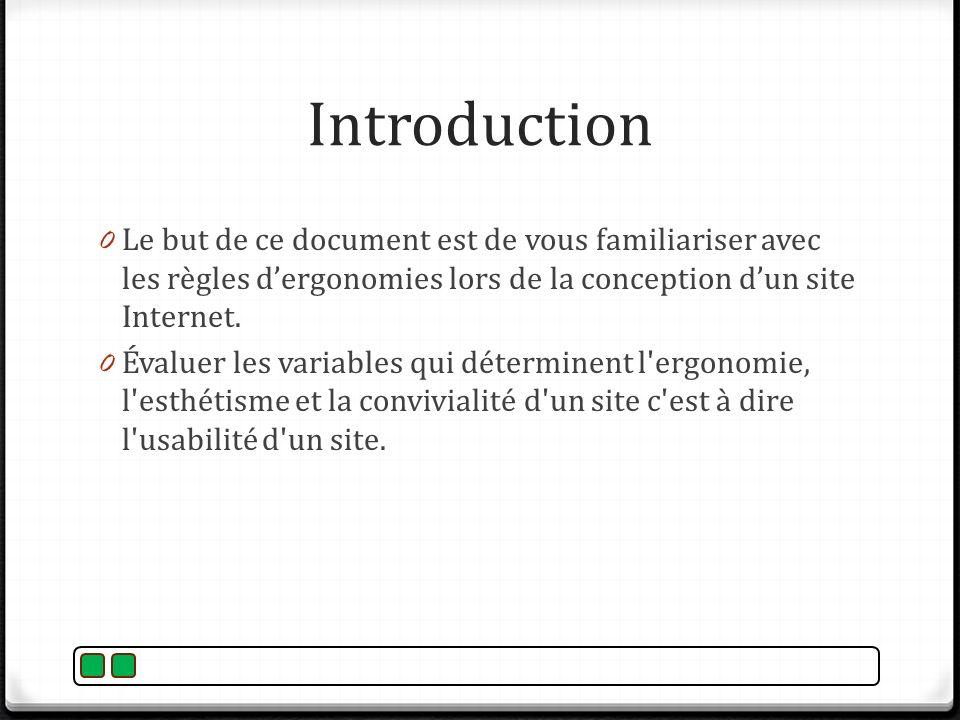 Introduction Le but de ce document est de vous familiariser avec les règles d'ergonomies lors de la conception d'un site Internet.