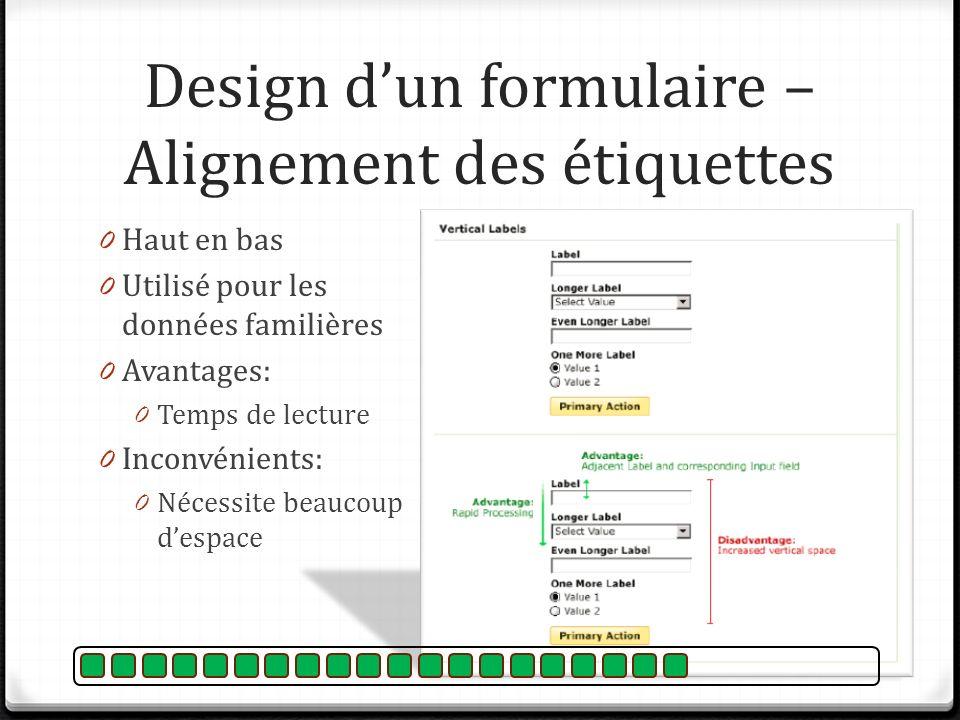 Design d'un formulaire – Alignement des étiquettes