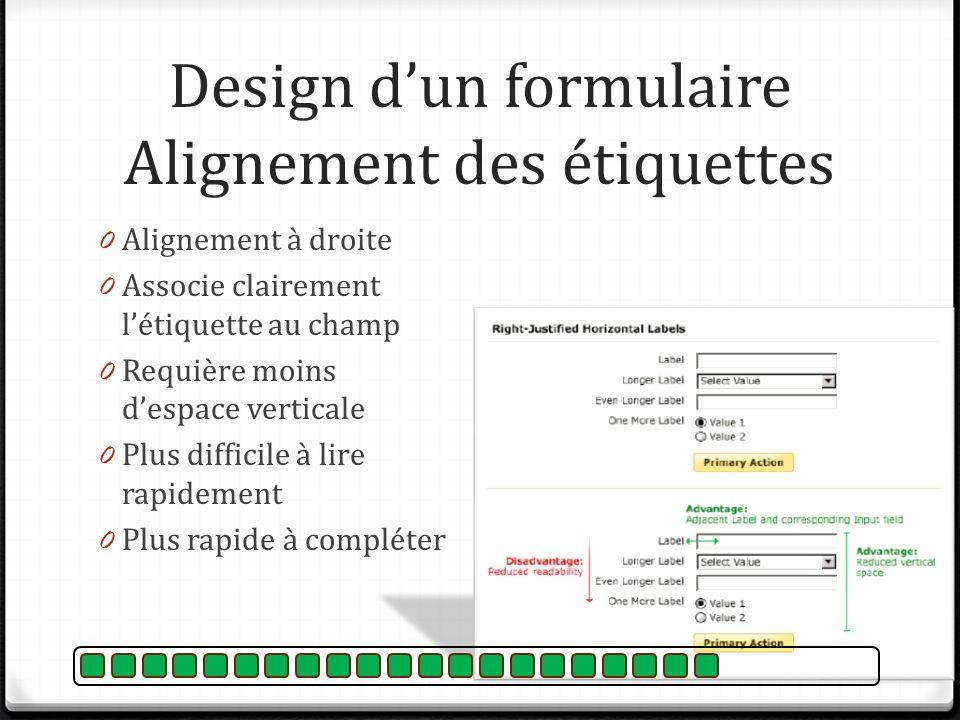 Design d'un formulaire Alignement des étiquettes