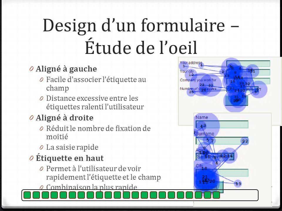Design d'un formulaire – Étude de l'oeil