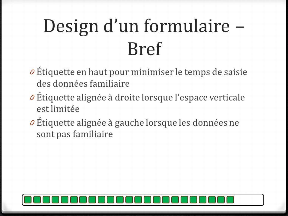 Design d'un formulaire – Bref