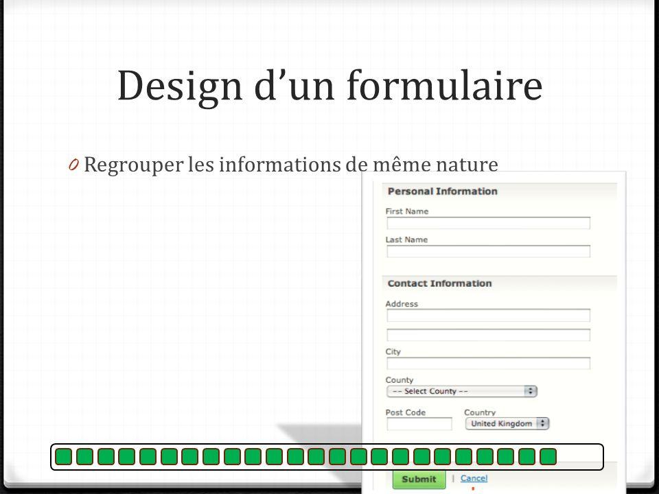 Design d'un formulaire