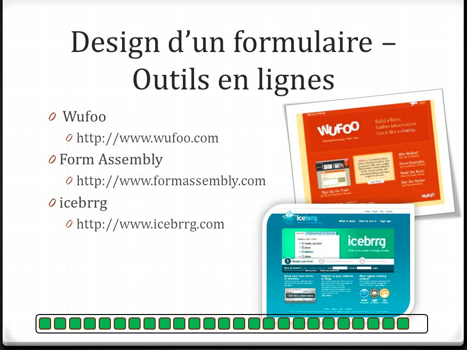 Design d'un formulaire – Outils en lignes