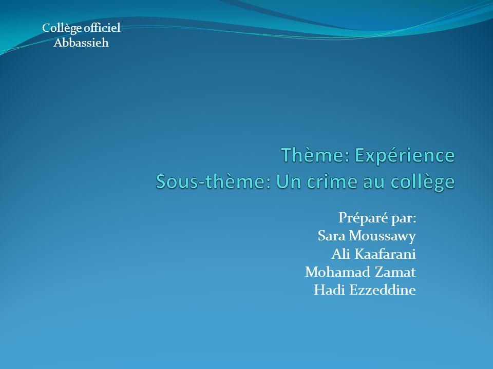 Thème: Expérience Sous-thème: Un crime au collège