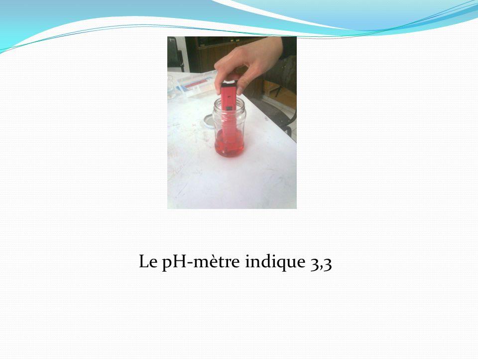 Le pH-mètre indique 3,3
