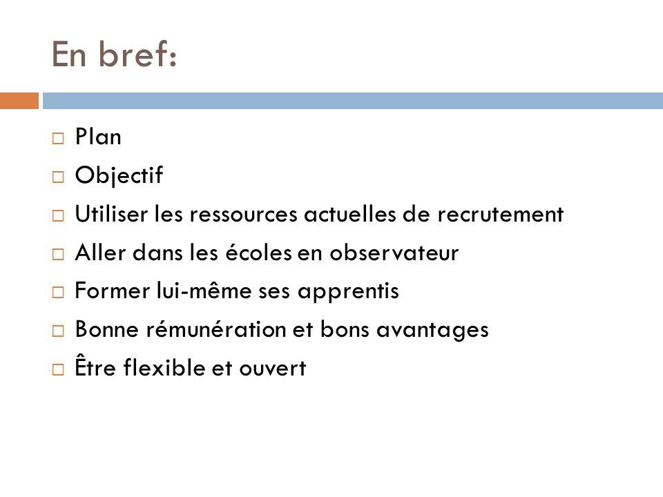 En bref: Plan. Objectif. Utiliser les ressources actuelles de recrutement. Aller dans les écoles en observateur.