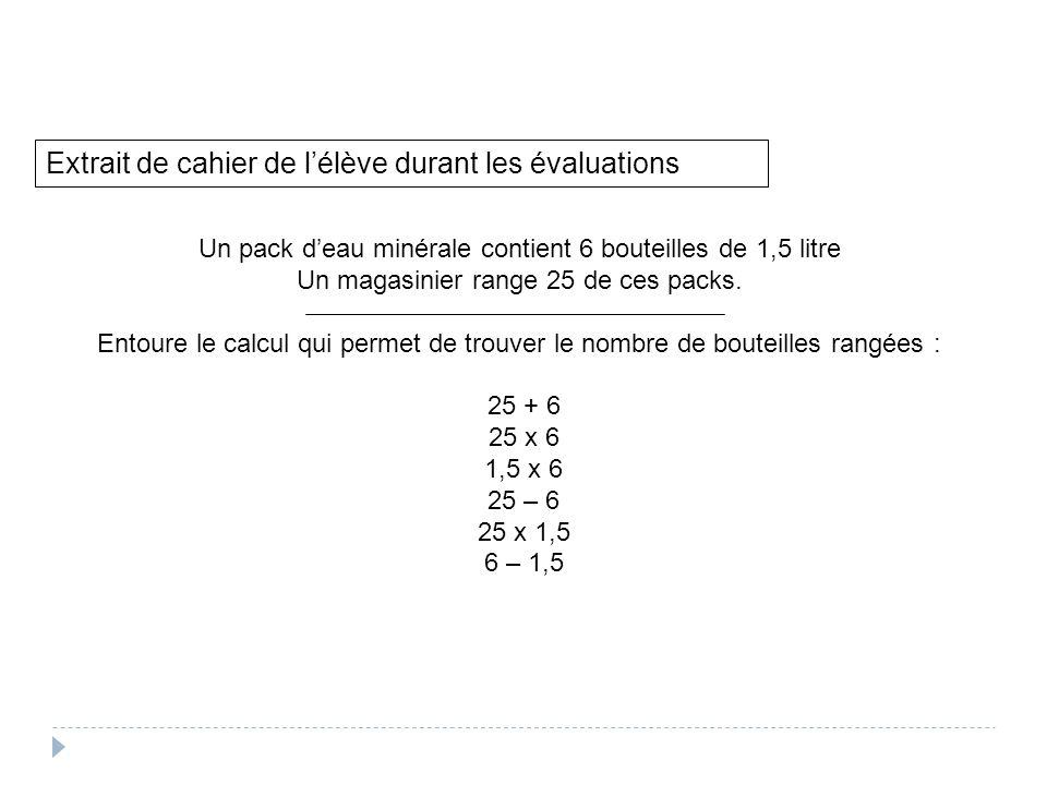 Extrait de cahier de l'élève durant les évaluations