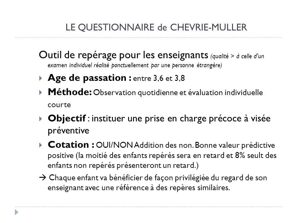 LE QUESTIONNAIRE de CHEVRIE-MULLER