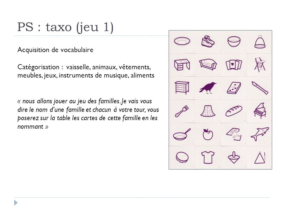 PS : taxo (jeu 1) Acquisition de vocabulaire