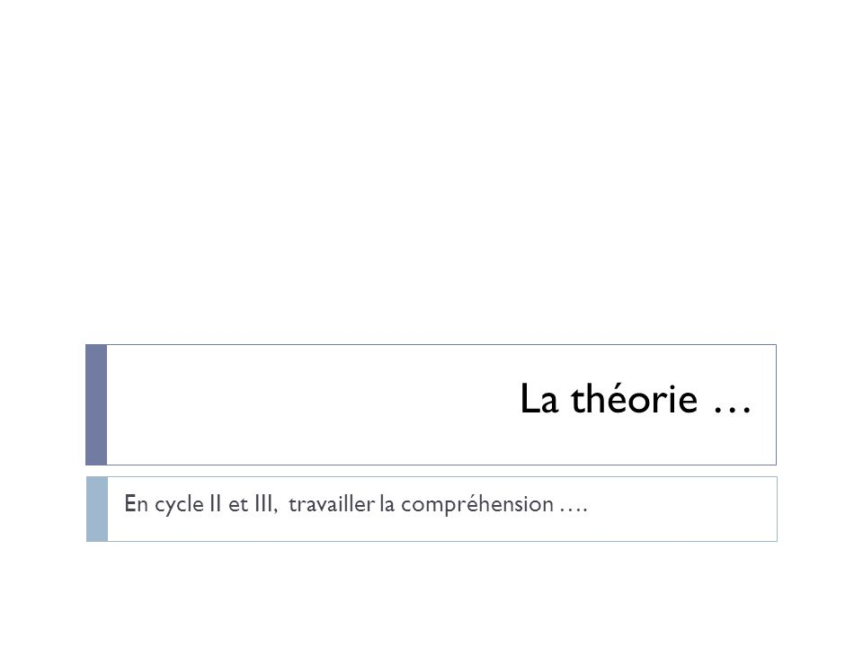 En cycle II et III, travailler la compréhension ….
