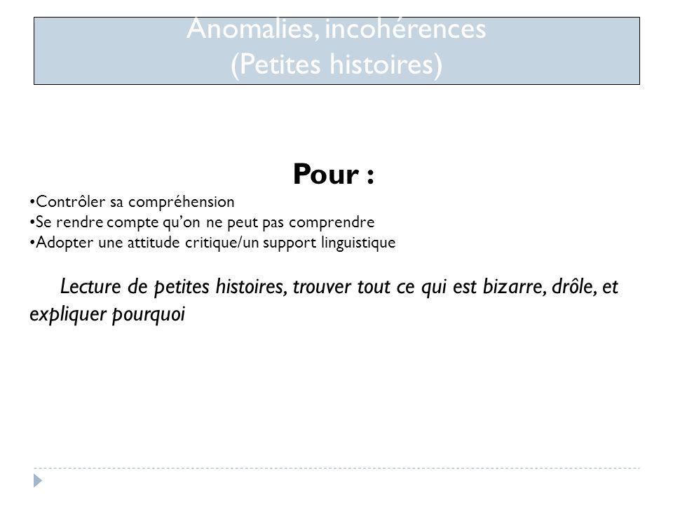 Anomalies, incohérences (Petites histoires)