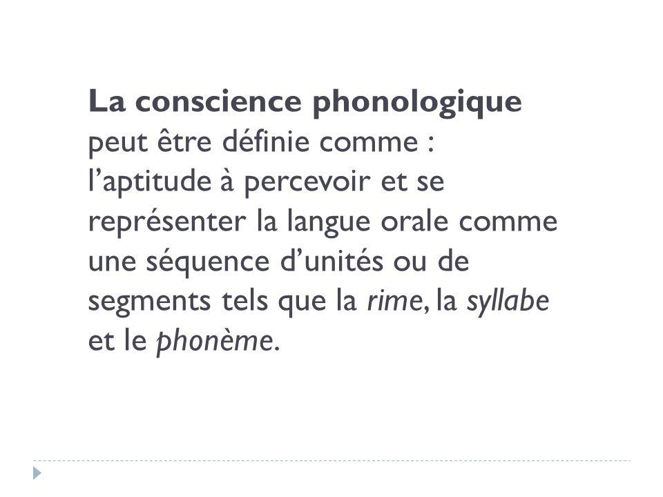 La conscience phonologique peut être définie comme :