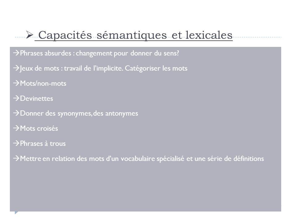Capacités sémantiques et lexicales