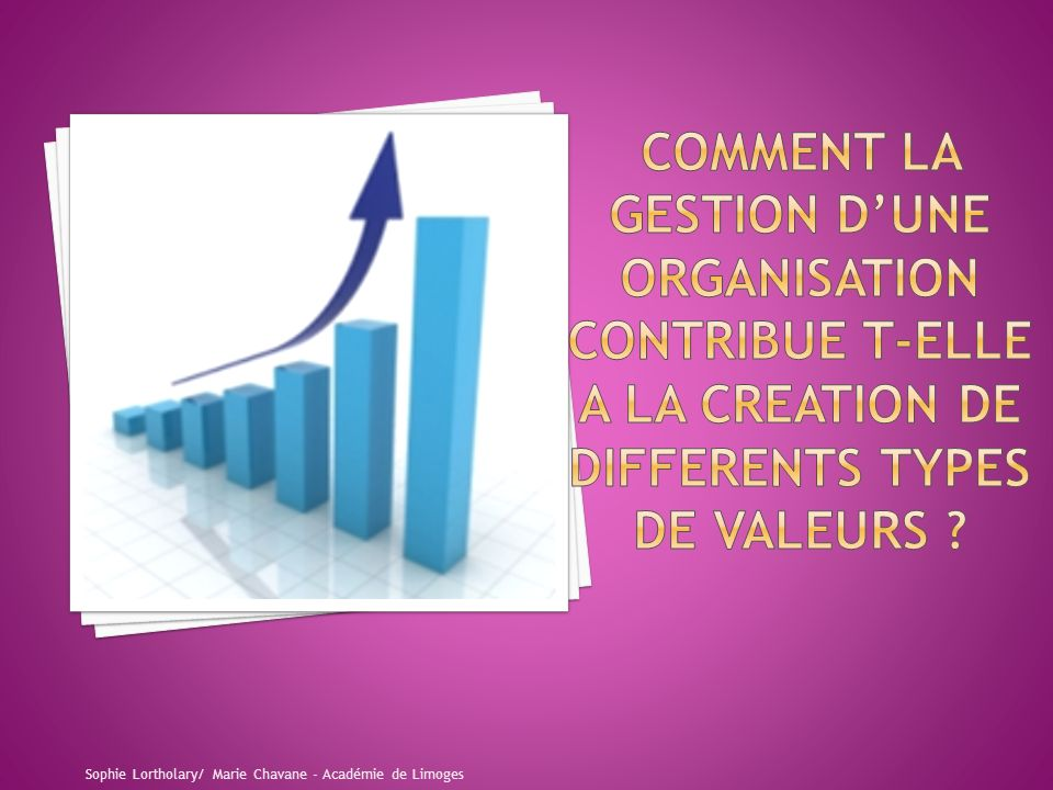 COMMENT LA GESTION D'UNE ORGANISATION CONTRIBUE T-ELLE A LA CREATION DE DIFFERENTS TYPES DE VALEURS