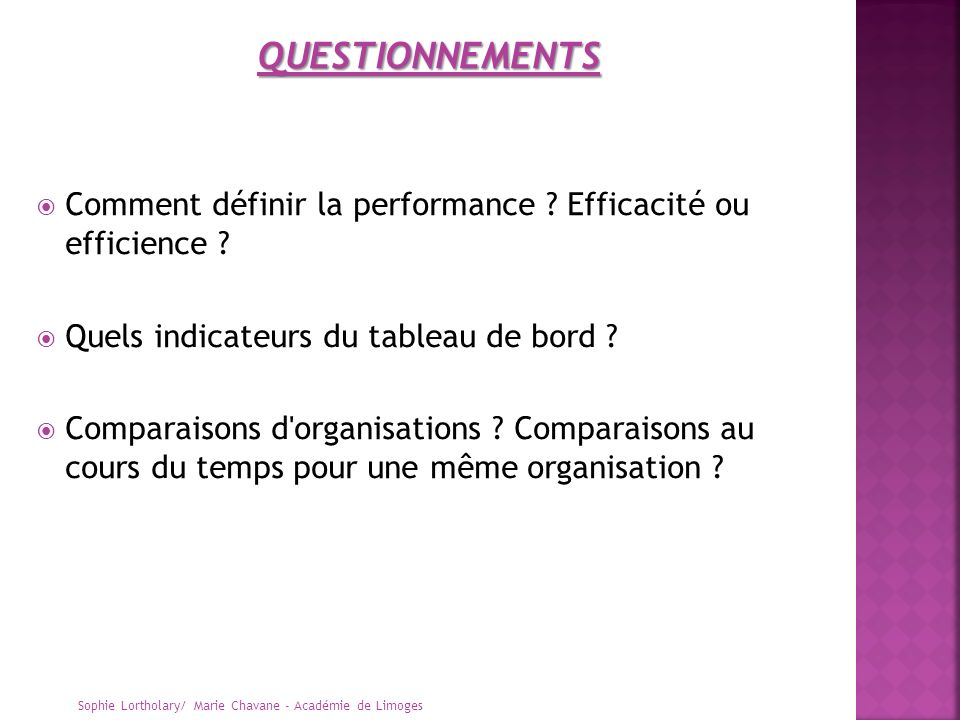 QUESTIONNEMENTS Comment définir la performance Efficacité ou efficience Quels indicateurs du tableau de bord