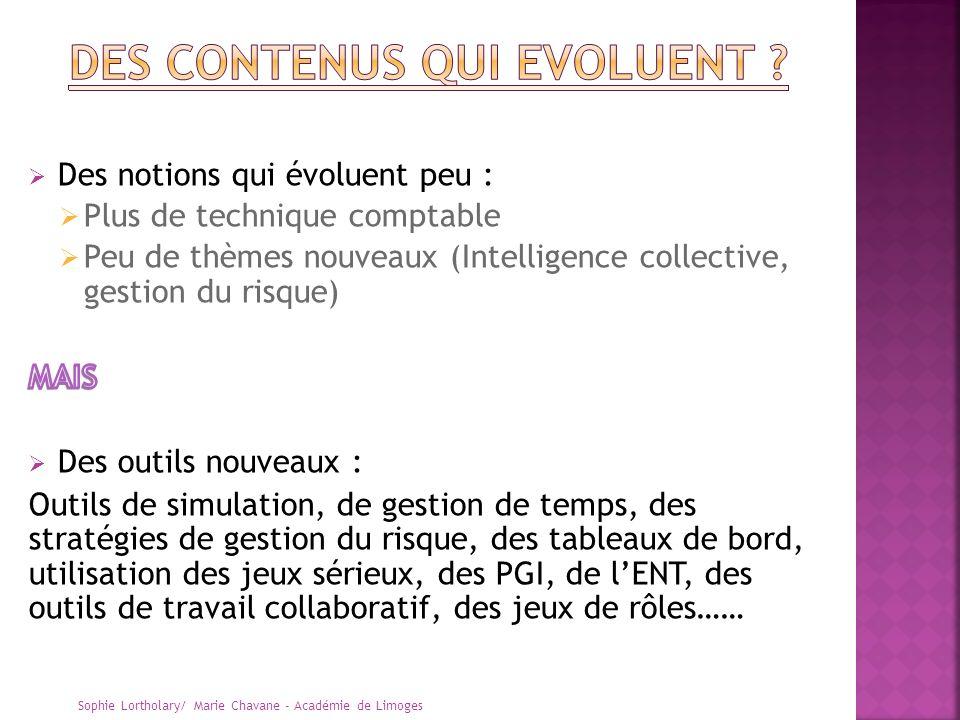 DES CONTENUS QUI EVOLUENT