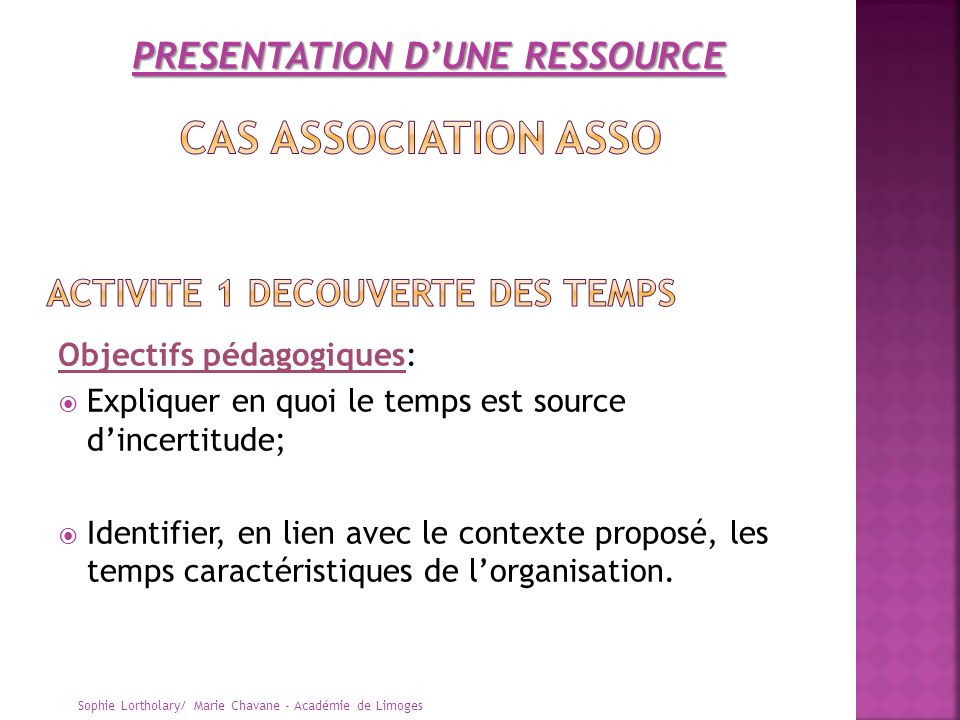 ACTIVITE 1 DECOUVERTE DES TEMPS