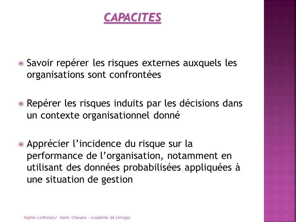 CAPACITES Savoir repérer les risques externes auxquels les organisations sont confrontées.
