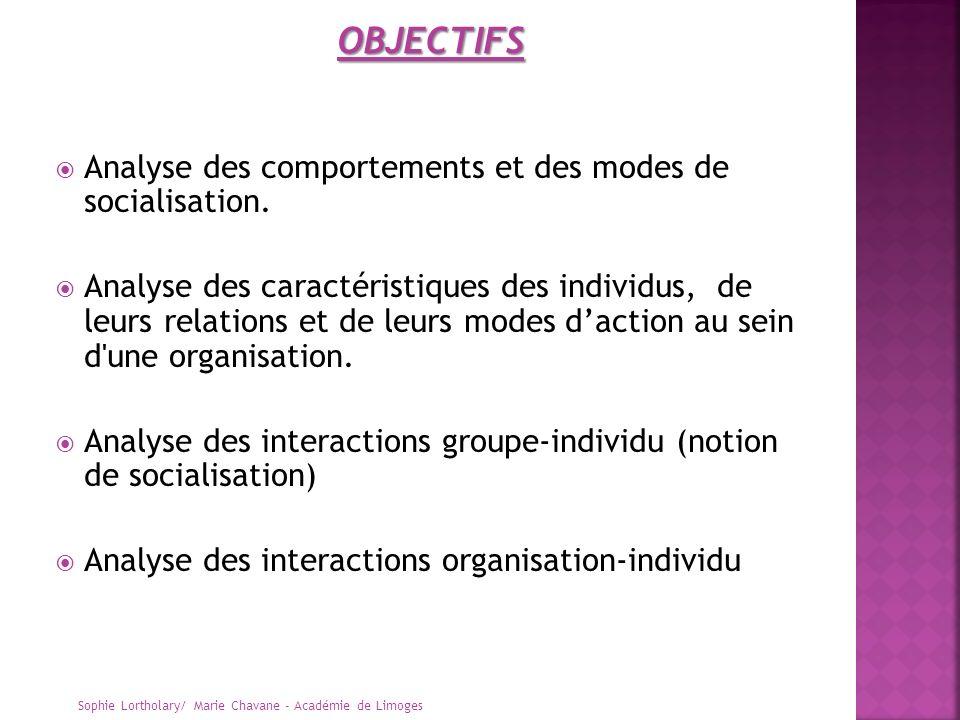 OBJECTIFS Analyse des comportements et des modes de socialisation.