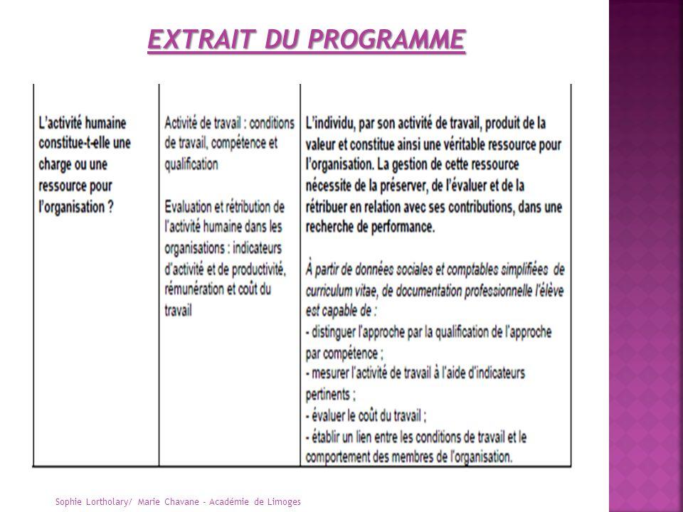 EXTRAIT DU PROGRAMME Sophie Lortholary/ Marie Chavane - Académie de Limoges