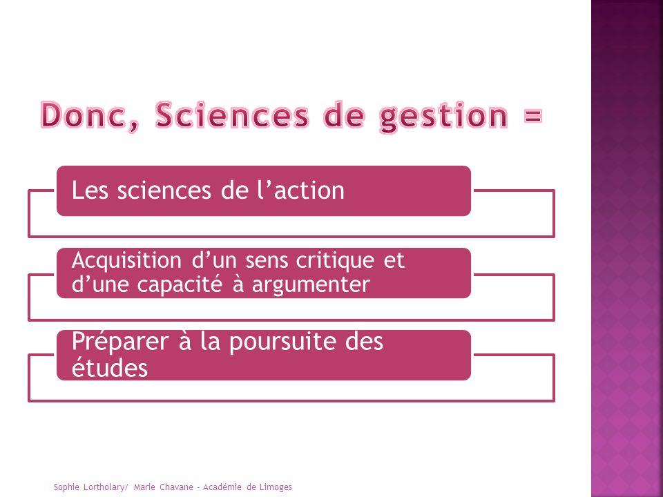 Donc, Sciences de gestion =