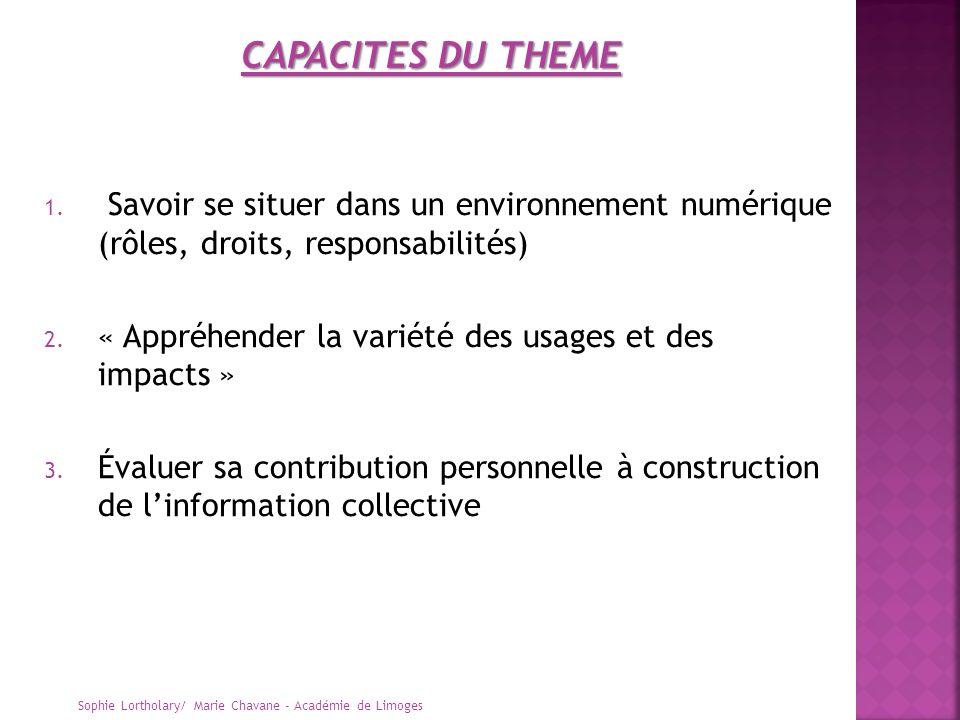 CAPACITES DU THEME Savoir se situer dans un environnement numérique (rôles, droits, responsabilités)