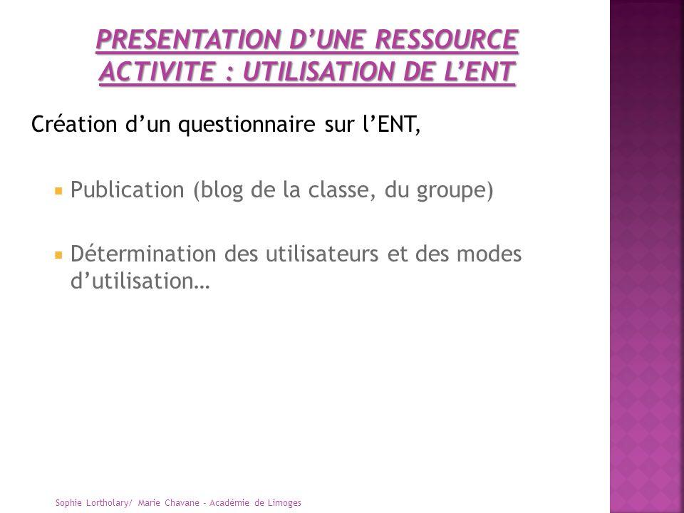 PRESENTATION D'UNE RESSOURCE ACTIVITE : UTILISATION DE L'ENT