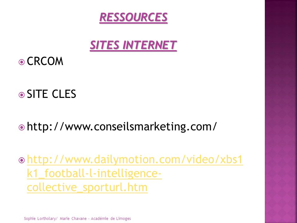 RESSOURCES SITES INTERNET