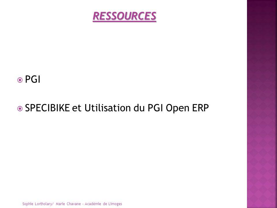 RESSOURCES PGI SPECIBIKE et Utilisation du PGI Open ERP