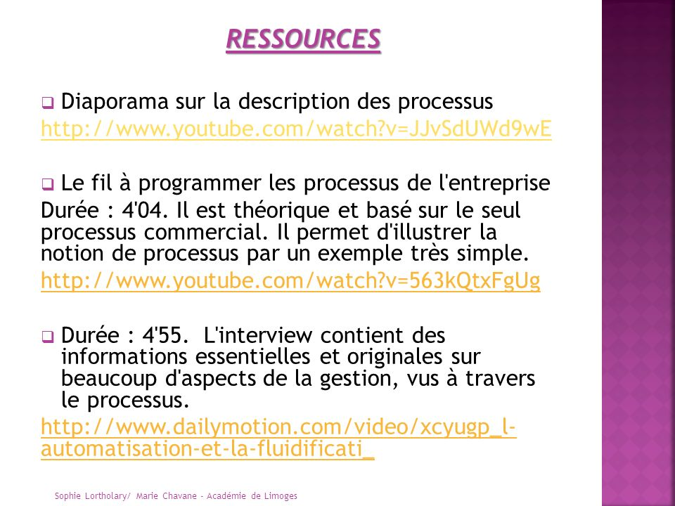 RESSOURCES Diaporama sur la description des processus