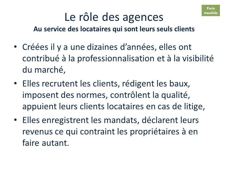 Paris meublés. Le rôle des agences Au service des locataires qui sont leurs seuls clients.