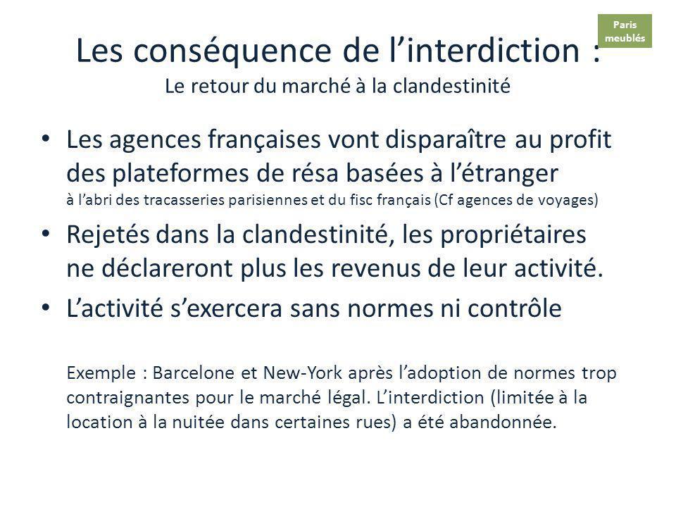 Paris meublés. Les conséquence de l'interdiction : Le retour du marché à la clandestinité.
