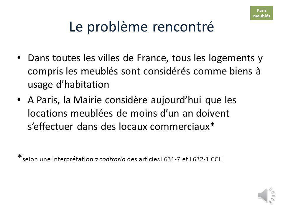 Paris meublés. Le problème rencontré.