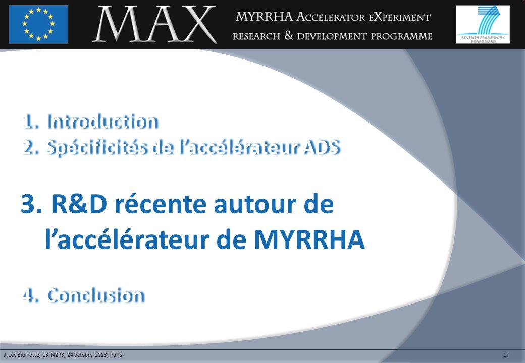R&D récente autour de l'accélérateur de MYRRHA