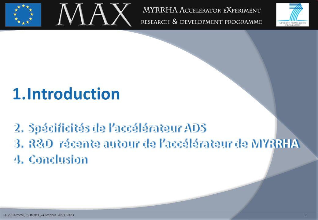 Introduction Spécificités de l'accélérateur ADS