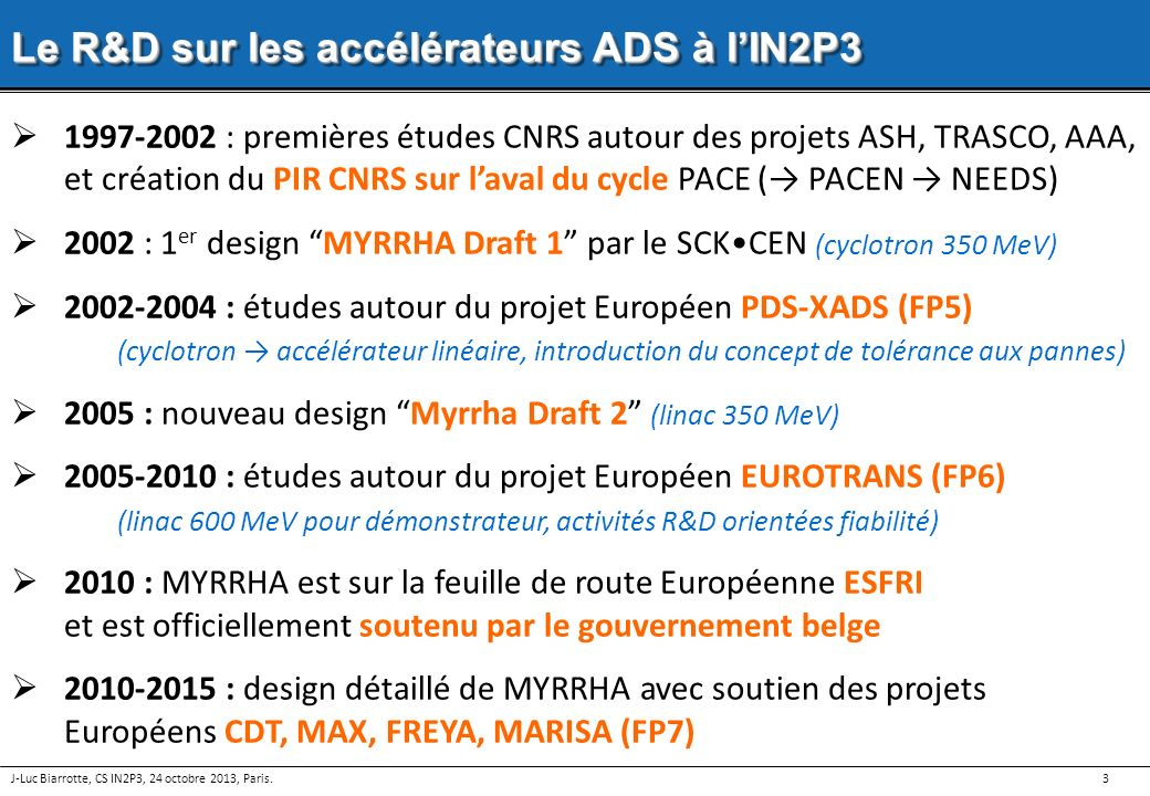 Le R&D sur les accélérateurs ADS à l'IN2P3
