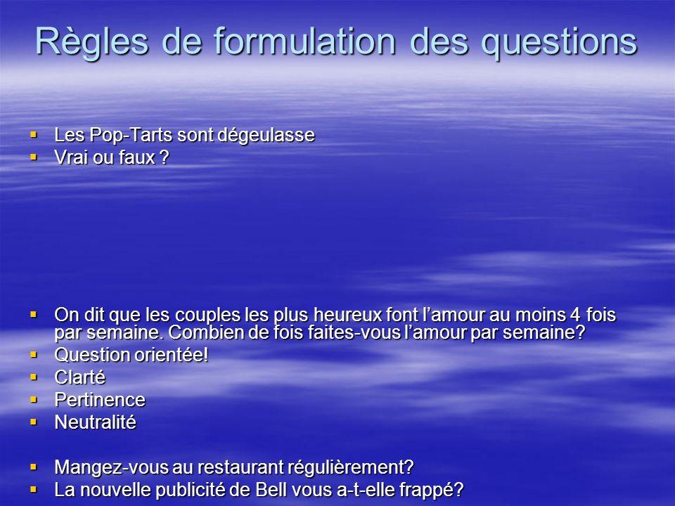 Règles de formulation des questions