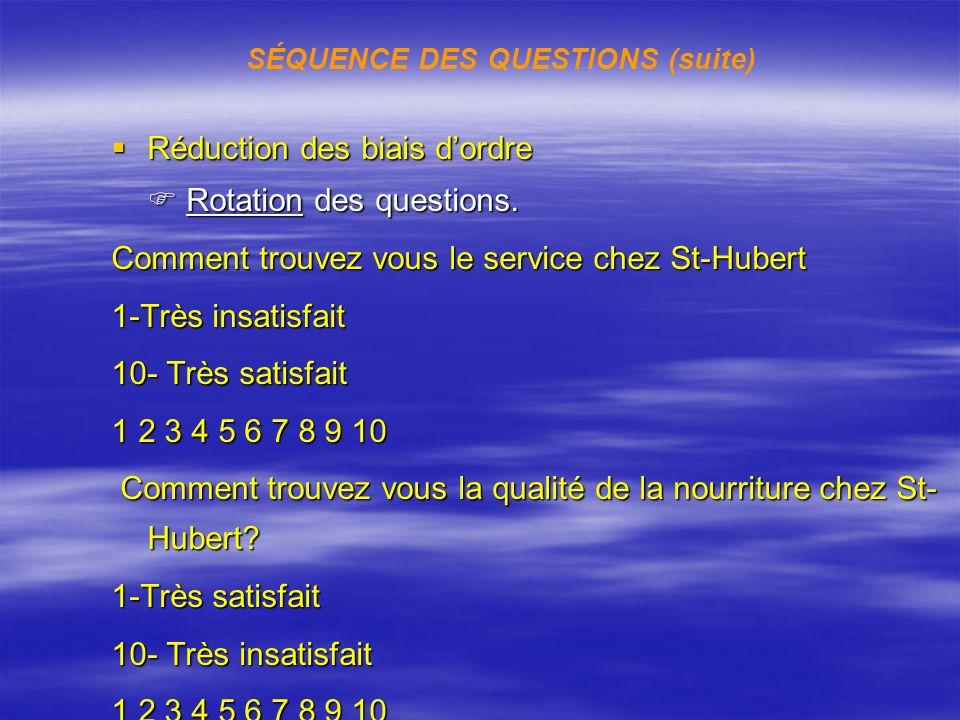 SÉQUENCE DES QUESTIONS (suite)