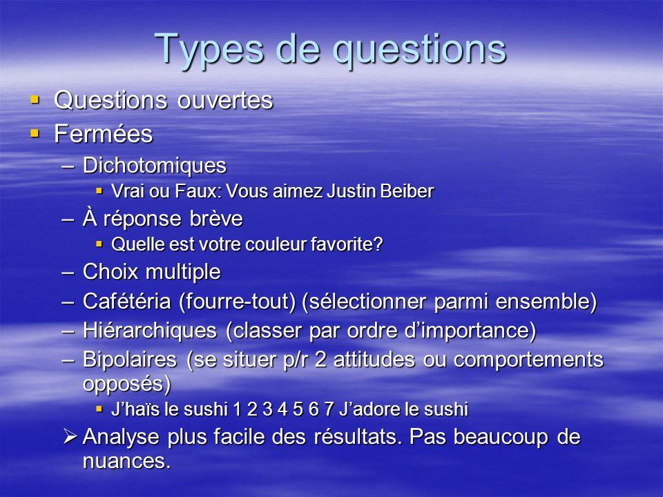 Types de questions Questions ouvertes Fermées Dichotomiques