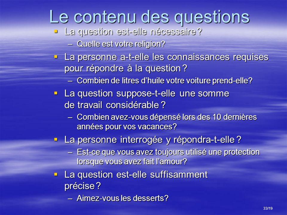 Le contenu des questions