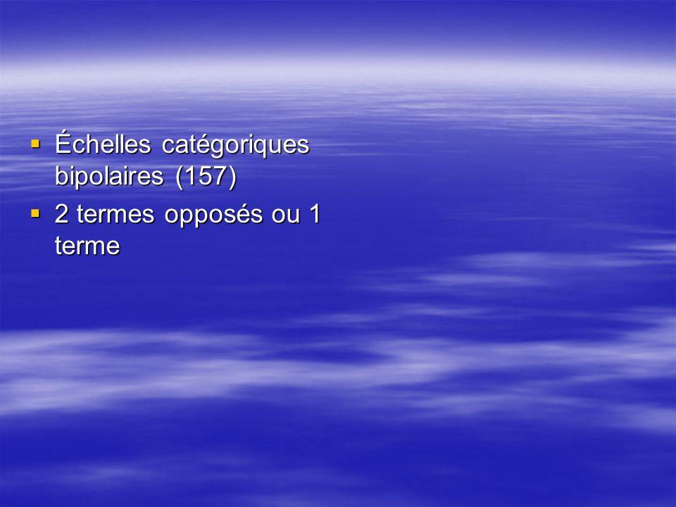 Échelles catégoriques bipolaires (157)