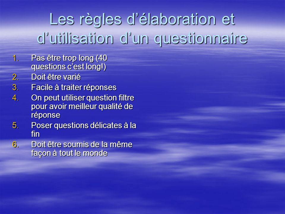Les règles d'élaboration et d'utilisation d'un questionnaire