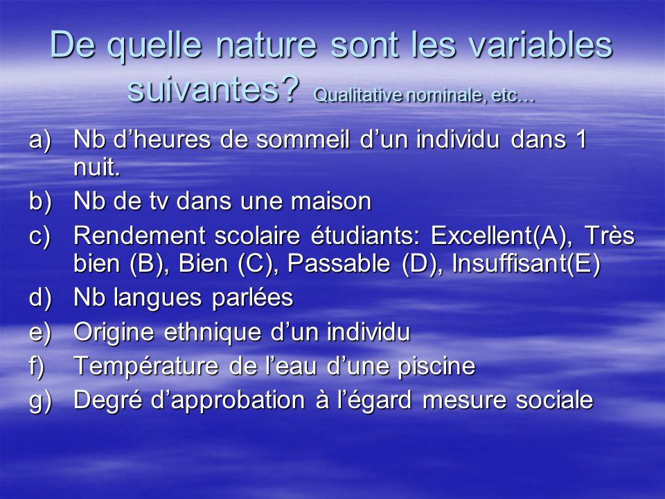 De quelle nature sont les variables suivantes