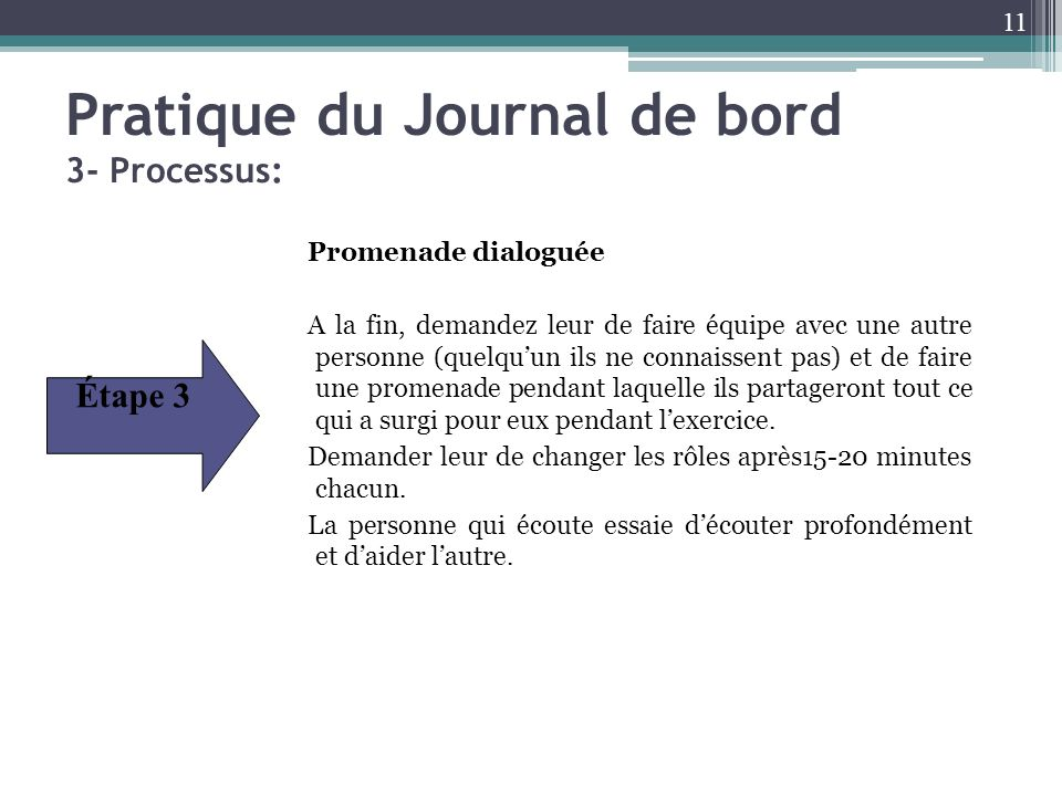 Pratique du Journal de bord 3- Processus:
