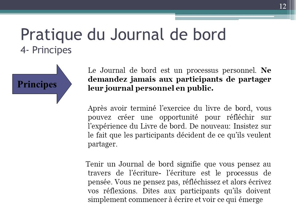 Pratique du Journal de bord 4- Principes